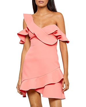 Malik Asymmetric Ruffle Off-the-Shoulder Mini Dress