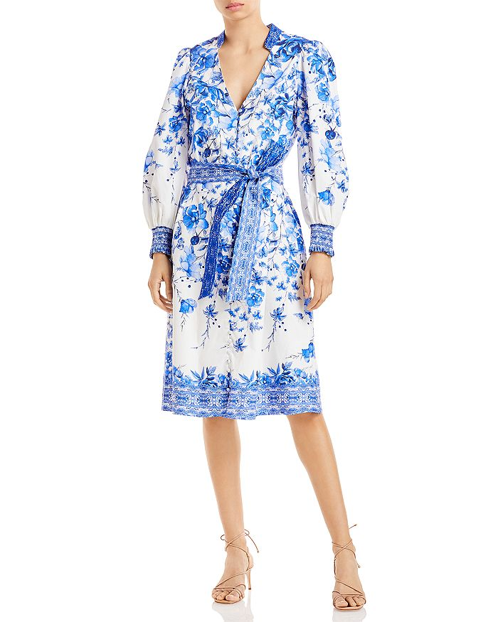 Alice And Olivia Midi dresses ALICE AND OLIVIA SHANLEY FLORAL PRINT SHIRT DRESS
