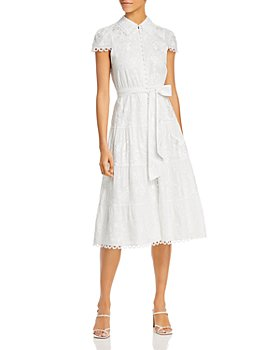 Alice and Olivia - Vannessa Embroidered Crocheted-Trim Dress