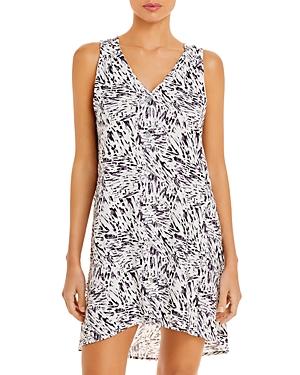 J. Valdi Abstract Print Button Tank Mini Dress