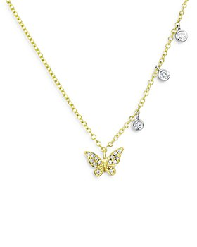 """Meira T - 14K Yellow & White Gold Diamond Butterfly Necklace, 18"""""""