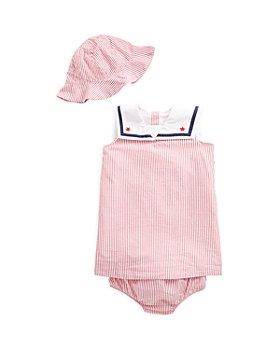 Ralph Lauren - Girls' Cotton Striped Seersucker Dress & Hat Set - Baby