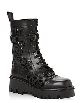 Valentino Garavani - Women's Atelier 08 San Gallo Edition Laser Cut Leather Combat Boots