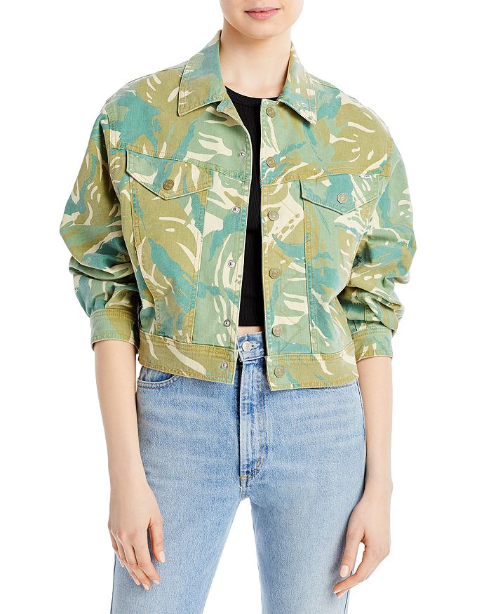 Mother Denims THE FLY AWAY DENIM JACKET IN TROPICAL CAMO