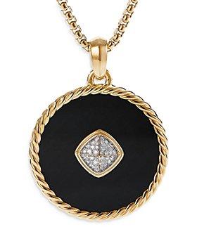 David Yurman - 18K Yellow Gold DY Elements® Disc Pendant with Black Onyx & Diamonds