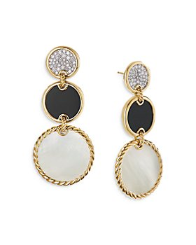 David Yurman - 18K Yellow Gold DY Elements® Drop Earrings with Mother-of-Pearl, Black Onyx & Diamonds