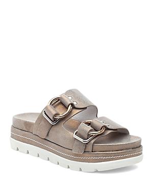 J/slides Women's Baha Platform Slide Sandals In Bronze Wash Leather