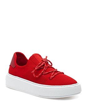 J/Slides - Women's Damien Perforated Knit Platform Sneakers