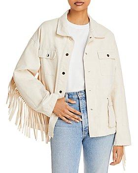 AQUA - Fringed Sleeve Denim Jacket - 100% Exclusive