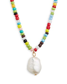 AQUA - Beach Bead Necklace, 16""