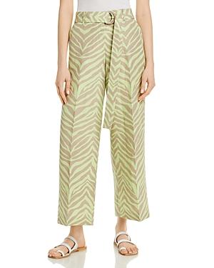 Lafayette 148 New York Rockefeller Silk Linen Zebra Striped Pants