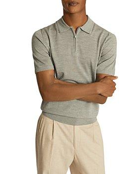 REISS - Maxwell Regular Fit Zip-Up Merino Wool Polo Shirt