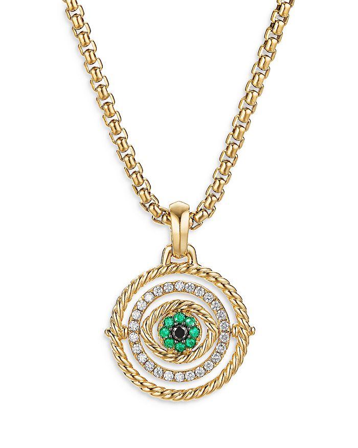David Yurman - 18K Yellow Gold Evil Eye Mobile Amulet with Emeralds & Diamonds