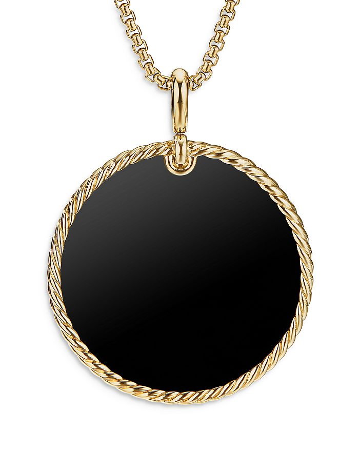 David Yurman - 18K Yellow Gold DY Elements® Disc Pendant with Black Onyx & Mother-of-Pearl