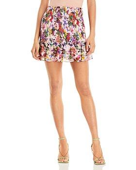 AQUA - Floral Smocked Mini Skirt - 100% Exclusive