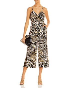AQUA - Leopard Print Wrap Jumpsuit - 100% Exclusive