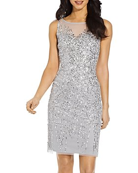 Adrianna Papell - Embellished Illusion Sheath Dress