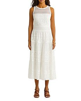 Ralph Lauren - Sleeveless Lace Illusion Yoke Midi Dress