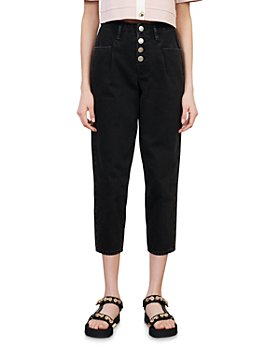 Maje - Patartex Cropped Button Fly Jeans in Black