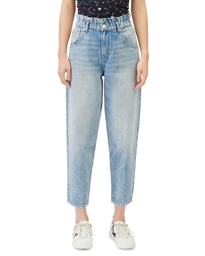 Maje PROMESSO PAPERBAG WAIST FADED JEANS IN BLUE
