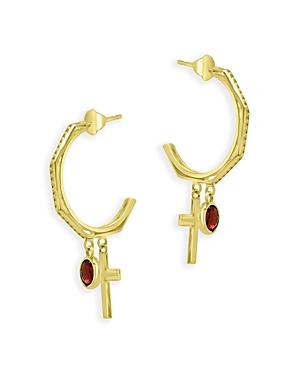 Bloomingdale's Garnet and Cross Half Hoop Earrings in 14K Yellow Gold - 100% Exclusive