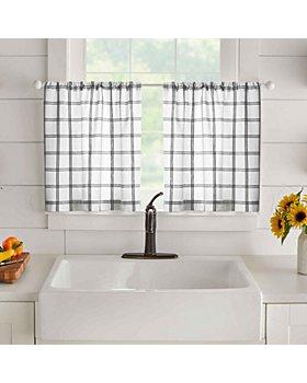 "Elrene Home Fashions - Farmhouse Living Double Windowpane Plaid Tier Set, 30"" x 24"""