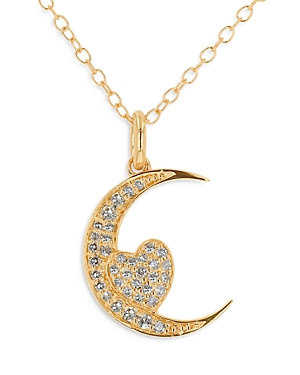 Moon & Meadow 14K Yellow Gold Moon and Heart Diamond Pendant Necklace, 18 - 100% Exclusive