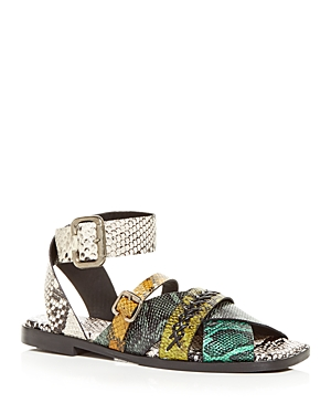 Women's Clare Snake Embossed Square Toe Sandals