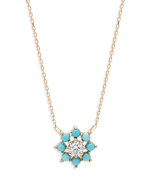 Adina Reyter 14k Yellow Gold Turquoise & Diamond Cluster Flower Pendant Necklace, 15-16