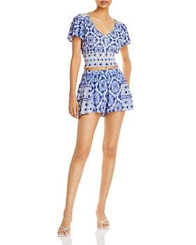 AQUA - Printed Smocked Top & Shorts - 100% Exclusive
