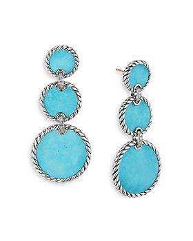 David Yurman - Sterling Silver DY Elements® Triple Drop Earrings with Turquoise & Diamonds