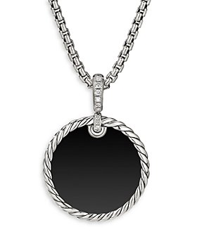 David Yurman - Sterling Silver DY Elements® Disc Pendant with Black Onyx, Mother-of-Pearl & Diamonds