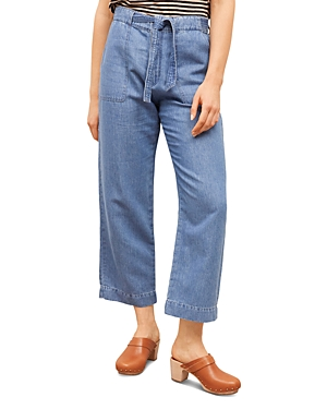 Mae Cropped Wide Leg Ankle Jeans in Blue