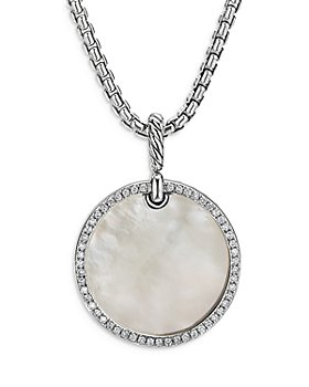 David Yurman - Sterling Silver DY Elements® Disc Pendant with Mother-of-Pearl & Diamonds