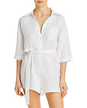 Vitamin A - Playa Button Front Romper Swim Cover-Up