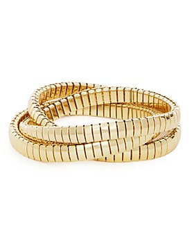AQUA - Triple Row Interlocking Omega Chain Bracelet in Gold Tone - 100% Exclusive
