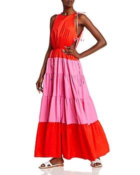 STAUD - Minerva Colorblocked Side Tie Maxi Dress