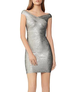 Herve Leger Foil Knit Bodycon Dress