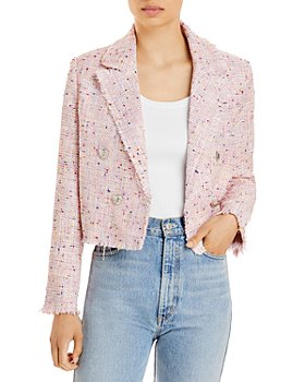 AQUA - Tweed Double Breasted Cropped Blazer - 100% Exclusive