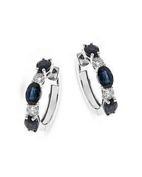 Bloomingdale's - Sapphire & Diamond Huggie Hoop Earrings in 14K White Gold - 100% Exclusive