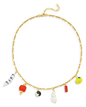 """Maison Irem - 18K Gold-Plated Charming Pendant Frontal Necklace, 16.5""""-18"""""""