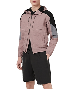 Textured Color Blocked Hooded Jacket