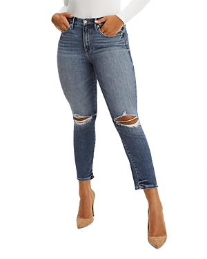 Good American Good Legs Skinny Cigarette Cropped Jeans in Blue673