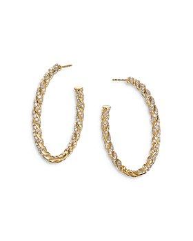 David Yurman - Pavéflex Hoop Earrings in 18K White Gold