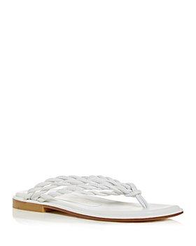 Stuart Weitzman - Women's Calypso Braided Square Toe Thong Sandals