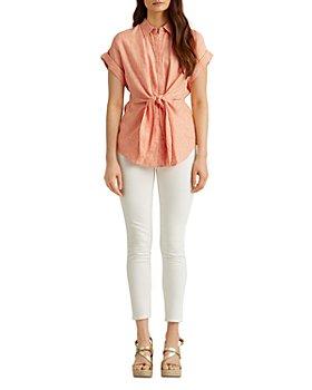 Ralph Lauren - Linen Striped Tie Front Shirt