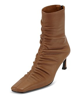 Reike Nen - Women's Square Toe Front Shirring Leather Mid Heel Booties