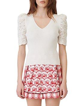 Maje - Ibiza Collection Mentalo Crochet Sleeve Rib Knit Sweater
