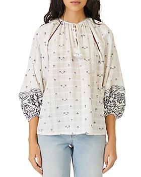 Maje - Ibiza Collection Lolipa Embroidered Three Quarter Sleeve Top