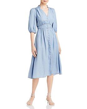 KARL LAGERFELD PARIS - Denim Button Front Midi Dress